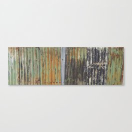 corrugated rusty metal fence paint texture Canvas Print