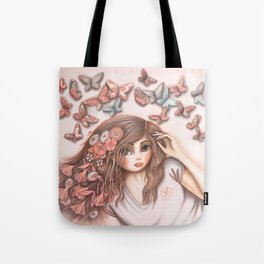 Paper Butterflies with girl Tote Bag