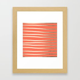 Simply Drawn Stripes in White Gold Sands on Deep Coral Framed Art Print
