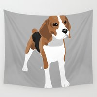 beagle Wall Tapestries featuring Beagle - Grey by Sian Murray Art