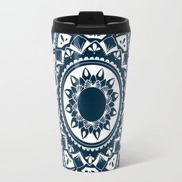 Warrior white mandala on blue Travel Mug