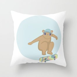 Skater teddy Throw Pillow