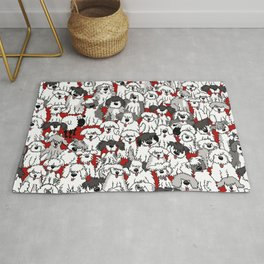 Sheepdogs On Watch RED Rug