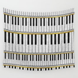 White Leather Piano Keys pattern with golden lines Wall Tapestry