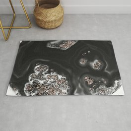 Black Malachite with Rose Gold Glitter #1 #shiny #gem #decor #art #society6 Rug