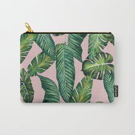 Jungle Leaves, Banana, Monstera II Pink #society6 Carry-All Pouch