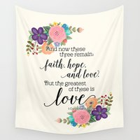 scripture Wall Tapestries featuring The Greatest of These is Love (floral) by Noonday Design