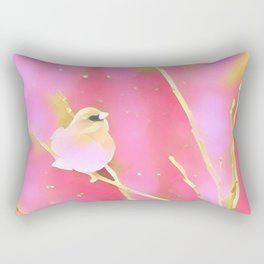 Junco Pink Yellow by CheyAnne Sexton Rectangular Pillow