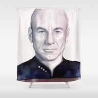 picard Shower Curtains featuring Captain Picard by Olechka