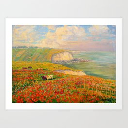 Václav Radimský (1867-1946) Normandy coast in bloom Impressionist Landscape Painting Bright Colors Art Print