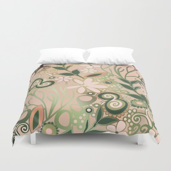 Detailed square of peach and green floral tangle Duvet Cover