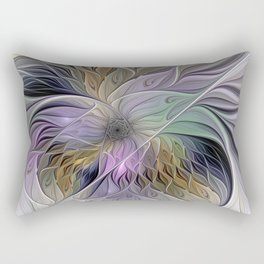 Abstract Flower, Colorful Floral Fractal Art Rectangular Pillow