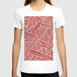 Abstract Navy Red & White Lines and Triangles Pattern- Mix and Match with T-shirt