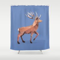 reindeer Shower Curtains featuring Reindeer.  by Diana D'Achille