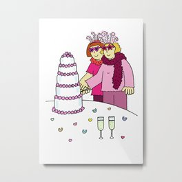 Civil partnership couple, lesbians cutting the cake. Metal Print