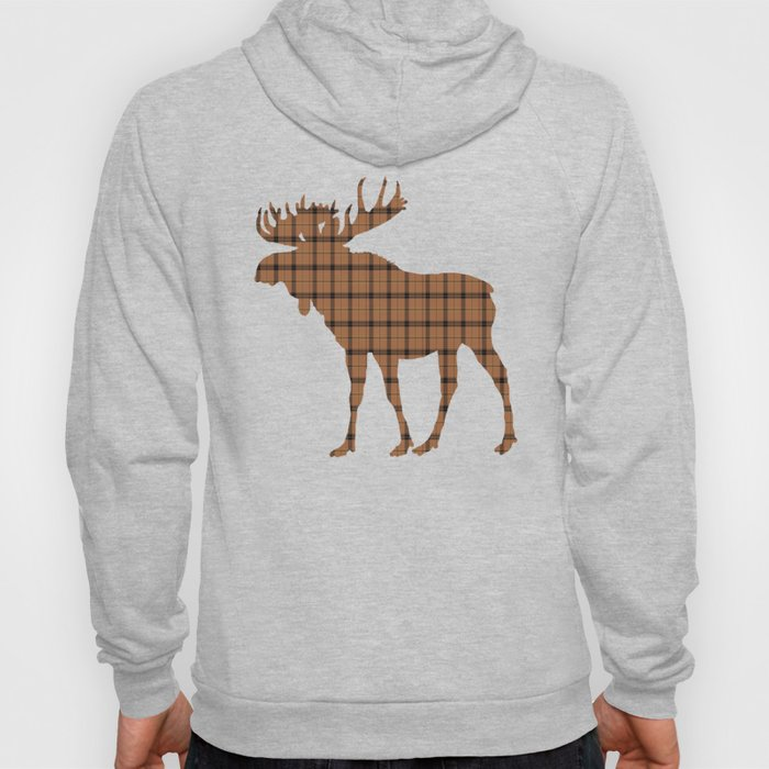 Plaid Moose: Brown Hoody