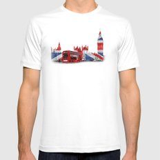 Red London Bus and Big Ben MEDIUM Mens Fitted Tee White