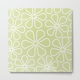 Abstract Flower Outlines White on Lime Metal Print