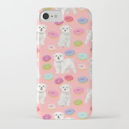 Maltese donuts dog breed funny pet lover dog person pattern print by pet friendly iPhone Case