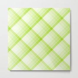 Lime Green Geometric Squares Diagonal Check Tablecloth Metal Print