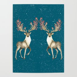 Deers With Birds Teal #society6 #buyart Poster