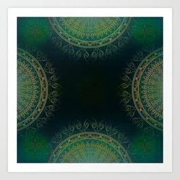 """Dark Clover Green & Gold Mandala Deluxe"" Art Print"