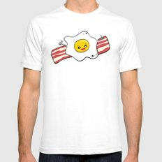Egg 'n' Bacon Mens Fitted Tee White SMALL