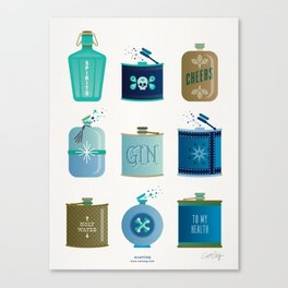 Flask Collection – Blue and Tan Palette Canvas Print