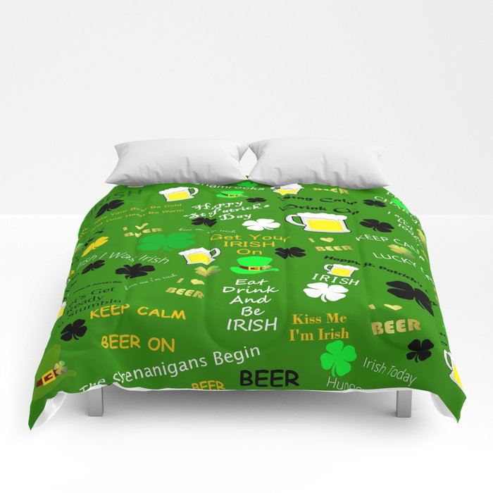 St Patrick's Day Collage Comforters