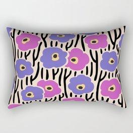 Mid Century Modern Wild Flowers Pattern Pink and Purple Rectangular Pillow