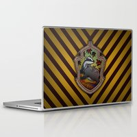 hufflepuff Laptop & iPad Skins featuring Hogwarts House Crest - Hufflepuff by Teo Hoble