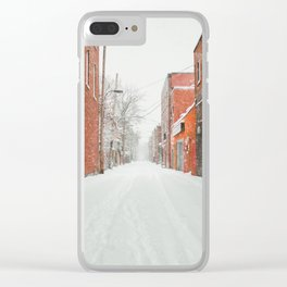 Montréal Snowstorm in alley Clear iPhone Case