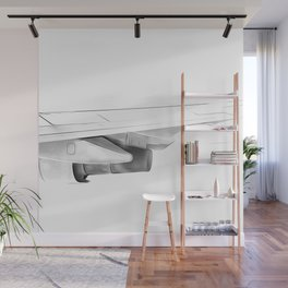 Black and white airplane Wall Mural