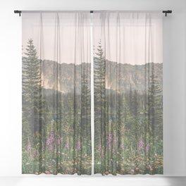 Mount Rainier Wildflower Adventure VII - Pacific Northwest Mountain Forest Wanderlust Sheer Curtain