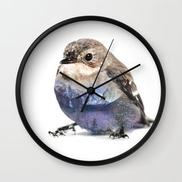 Bird Double Exposure Wall Clock