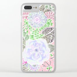 Blush pink lavender green white watercolor flowers Clear iPhone Case