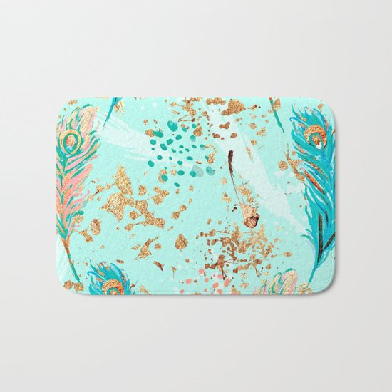 Feather peacock peach mint #7 Bath Mat