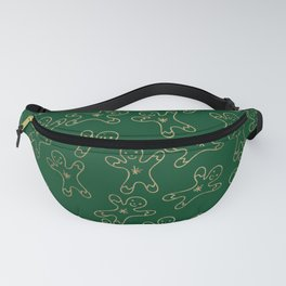 Sweet forest green gold foil christmas ginger bread man Fanny Pack