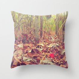 Lonely red flower Throw Pillow