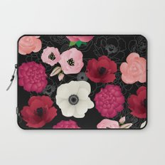 Black & Pink Flowers Midnight Laptop Sleeve