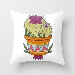 Flowering Pineapple Cactus Design - Potted Cacti Design Throw Pillow