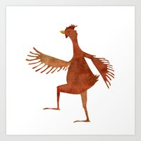 chicken Art Prints featuring Chicken by Jade Young Illustrations