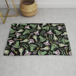 Spring Witch - Botanical Witchcraft Pattern on Black Rug