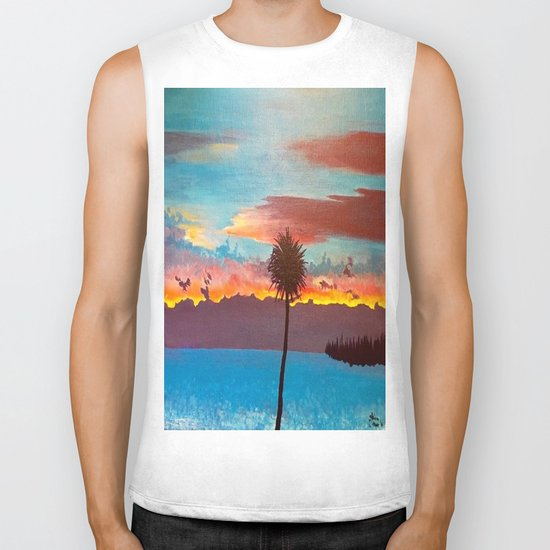 The Beautiful Key West Sun is captured in this ocean sunset painting Biker Tank