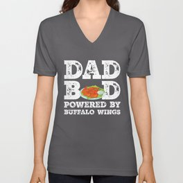 Dad Bod Powered By Buffalo wings Father Figure Gifts Idea with Funny Graphic for Food Lovers Unisex V-Neck