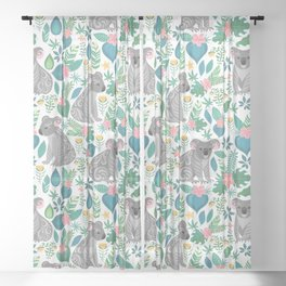 Cute gray koalas with ornaments, tropical flowers and leaves. Seamless tropical pattern. Sheer Curtain