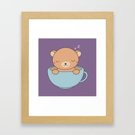 Kawaii Cute Coffee Brown Bear Framed Art Print