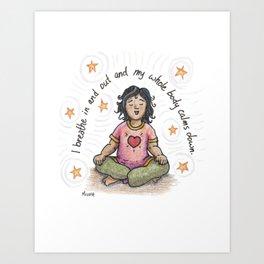 Just Breathe yoga artwork, yoga art, kids yoga, zen kids, spirituality, kids illustration, calm art Art Print