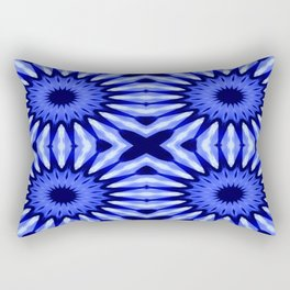 Blue Flowers Mandala Pattern Rectangular Pillow