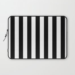 Solid Black and White Wide Vertical Cabana Tent Stripe Laptop Sleeve